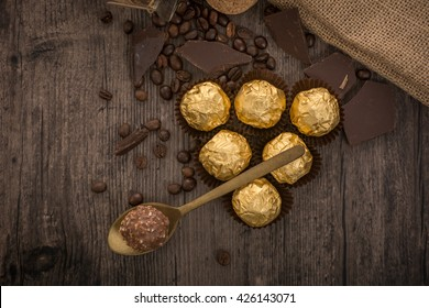Italian chocolate sweets Ferrero Rocher with decoration