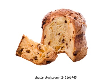 italian christmas cake called panettone on white background