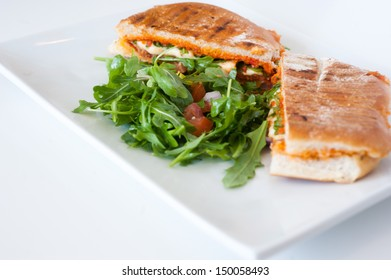 italian ciabatta panini sandwich with chicken and tomato on a white plate
