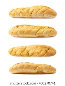 Italian ciabatta white bread isolated over the white background, set of four different foreshortenings