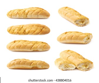Italian ciabatta white bread isolated over the white background, set of seven different foreshortenings