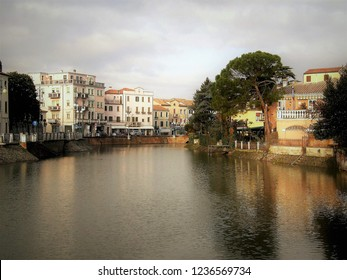Italian citty view of the river and buildings, Adria Italy