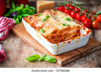 Italian classic dish lasagna with tomato sause and chicken