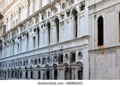 Italian classical facade with decorative windows