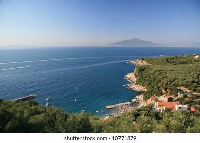 Italian Coast with Mount Vesuvius in the background
