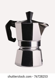 An Italian coffee-maker on a white background.