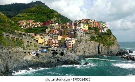 Italian colors in village of Manarola Italy