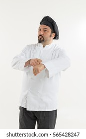 Italian cook on white background