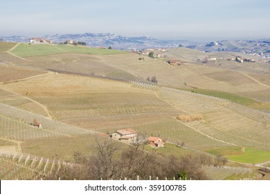 Italian countryside of fields and vineyards in the winter. The Langhe area, Piedmont (Piemonte), Italy