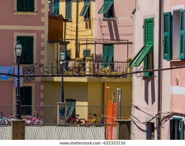 Italian courtyard in Monterosso, Cinque Terre, Italy.