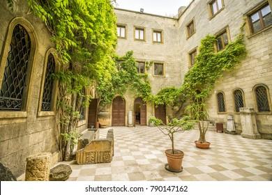 Italian courtyard in museum in Brindisi, Puglia, Italy