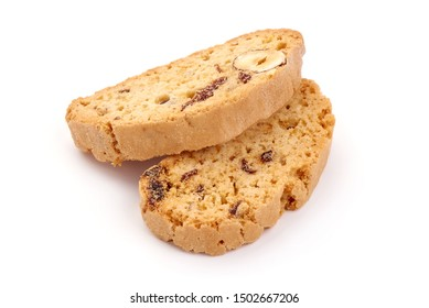 Italian cranberry almond biscotti, cantuccini cookies, isolated on white background.