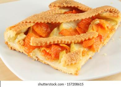 Italian Crostata pie with apples and pumpkin