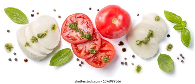 Italian cuisine concept - caprese salad ingredients isolated on white