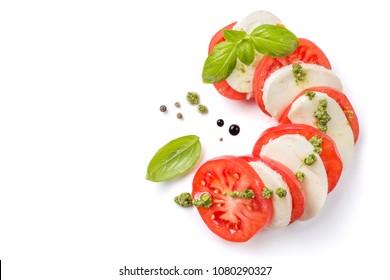 Italian cuisine concept - caprese salad isolated on white