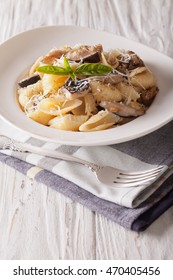 Italian cuisine: Conchiglie with porcini mushrooms and parmesan close-up on a plate. Vertical
