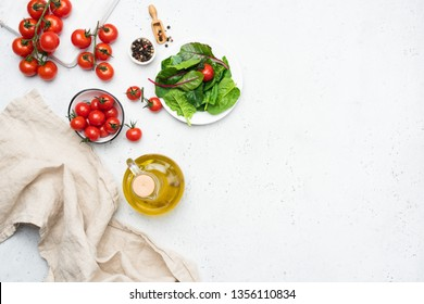 Italian cuisine food ingredients, cooking fresh summer salad ingredients and spices. Copy space for text