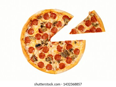 Italian cuisine. Fresh pepperoni pizza. Salami and mushrooms pizza with separate slice isolated on white background.