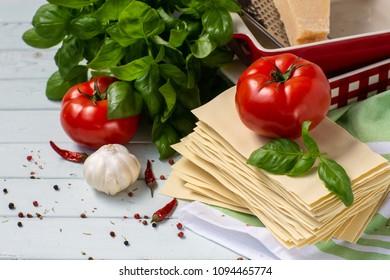 Italian cuisine is lasagna. products for lasagna