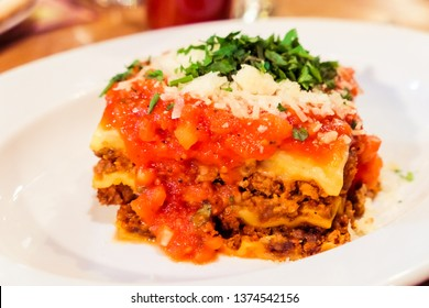 Italian cuisine, restaurant menu and food photography blog concept - Lasagna bolognese plate, traditional recipe with tomato sauce, cheese and meat