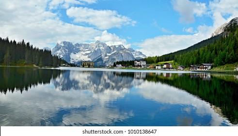 Italian Dolomites -view on the lake Misurina