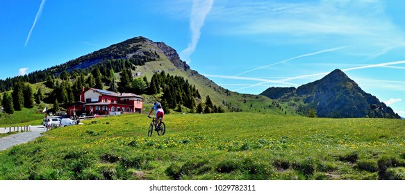 Italian Dolomites-panoramic view of the pass Tremalzo and of the cyclist