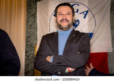 Italian elections candidate and Lega Nord current leader Matteo Salvini getting ready for a political rally held in the Camera di Commercio di Messina. Messina, Italia - 2/14/2018
