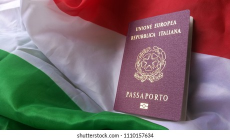 Italian European Passport on Italy Country Flag: Citizenship Proof at Customs with Copyspace