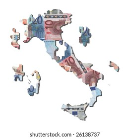 Italian euros Map jigsaw with missing pieces illustration