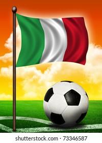 Italian flag and ball