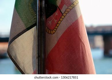 Italian flag close-up on the ship