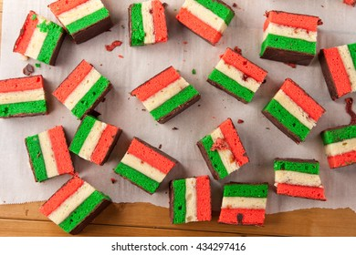 Italian flag cookies on parchment paper