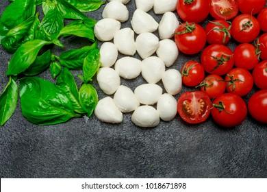 Italian flag made of mozzarella cheese, basil and tomatoes. Caprese salad