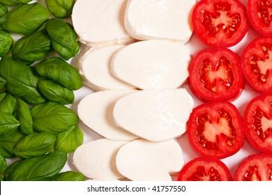 Italian flag made wit Tomato Mozzarella and Basil