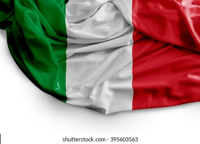 Italian flag on white background