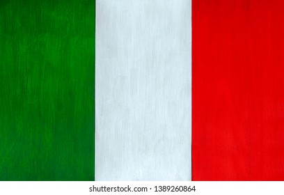 Italian flag as a painted wooden background for rustic, vintage and authentic styles - il tricolore of the nation of Italy.