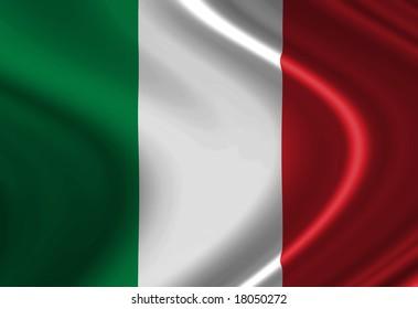 Italian flag waving in the wind