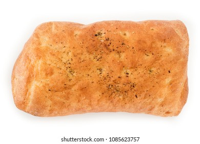 Italian focaccia bread with herbs top view. Isolated on white, clipping path included