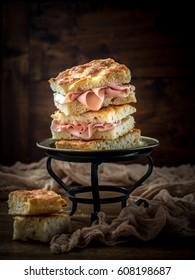 Italian focaccia bread stuffed with mortadella