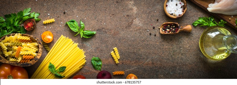 Italian food background. Pasta and meat. Long banner format.