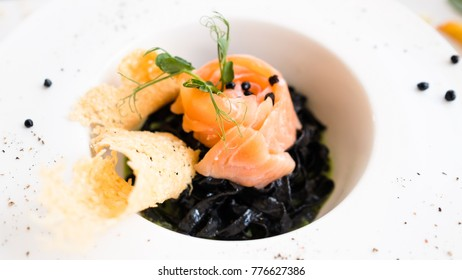 italian food black pasta nero recipe concept. traditional kitchen. national cuisine. delicious delicacy.