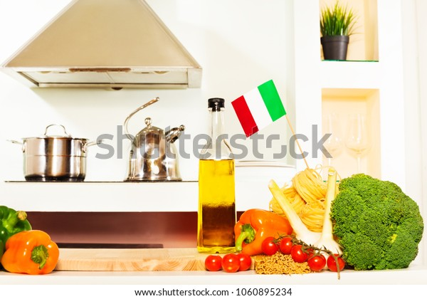 Italian food with copy space on the kitchen table