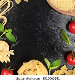 Italian food design template. Pasta, tomatoes and basil, a flat lay frame on a black background with a place for text. Spaghetti, orzo, fusilli, farfalle and pappardelle, square overhead shot