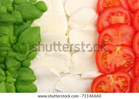 Italian food ingredients forming the italian flag