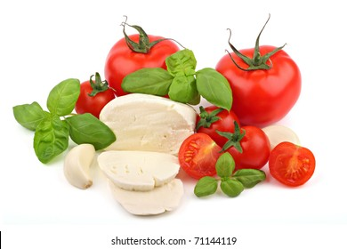 Italian food ingredients on a white background