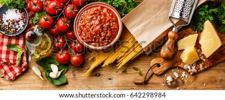 italian food ingredients spaghetti bolognese の写真素材 今すぐ編集