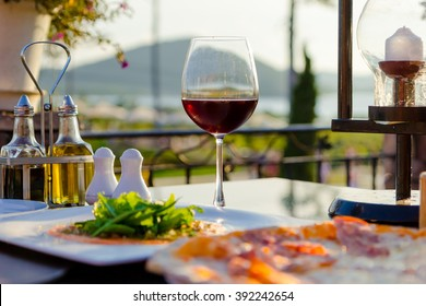 Italian food at luxury restaurant with a view