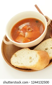 Italian food, Minestrone soup and french bread