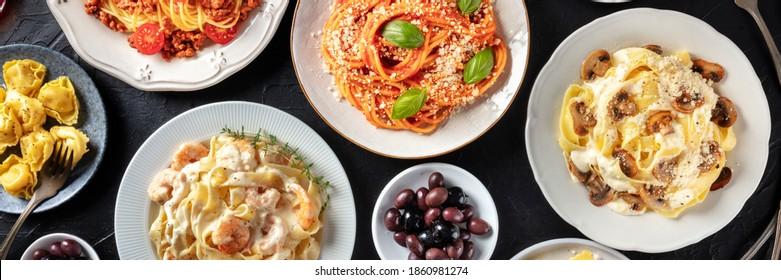 Italian food panorama. Various pasta dishes, overhead flat lay shot