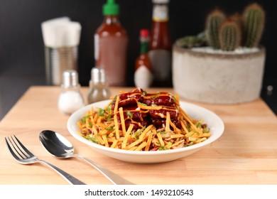 Italian food pasta on wood table